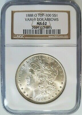 1888 O Silver Morgan Dollar NGC MS 62 Vam 9 DDR Arrows Mint Error Top 100