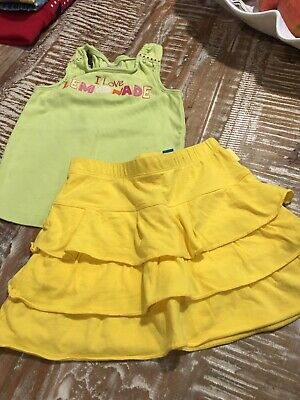 Girls Size 5  Gymboree Lime Green Lemonade Top - TCP Bright Yellow Skort - Cute!