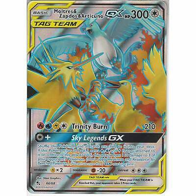 Pokemon 66/68 Moltres Zapdos & Articuno TAG TEAM GX Rare Ultra Card Hidden Fates