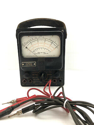Simpson Electric Bakelite Black Vtg Volt Tester Meter Art Deco Leather Manual