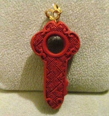 VINTAGE ANTIQUE INTAGLIO CHINESE Hand Carved Genuine RED Cinnabar GOLD Pendant