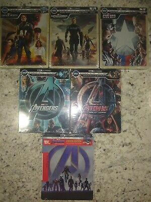 4k Marvel Steelbook Lot Avengers End Game Age Of Ultron  Captain America Trilogy
