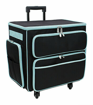 Deluxe 4 Wheel Trolley Bag Black with Green Trim Everything Mary EVM10995-2