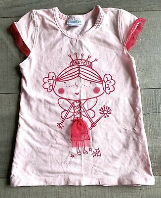 Naartjie Girls Size 6 Shirt Top Fairy Short Sleeve Pink Tulle