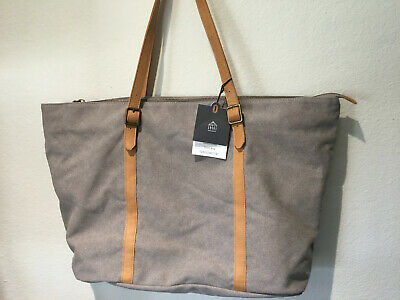 Hearth & Hand with Magnolia Joanna Gaines Gray Canvas & Tan Leather Tote Bag
