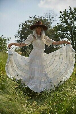 """1930s """"Windowpane"""" Cotton Voile Dress Sweeping Skirt Lawn Gown Wedding Bridal"""
