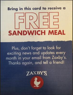 Lot Of 10 Zaxby's Combo Meal Passes - SUPER FAST DELIVERY W/ Tracking!