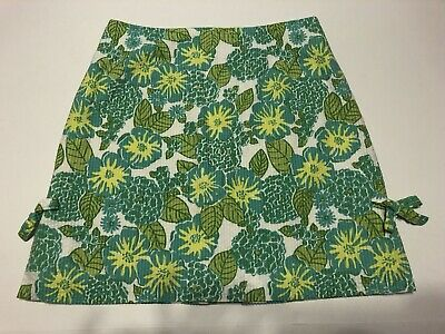 Vintage 1990s Lilly Pulitzer Yellow Blue Green Floral Print Size 8 Zip Back