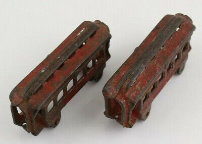 Pair Of Antique Vintage Toys Red Train Car Cast Iron Passenger Car Pullman Style
