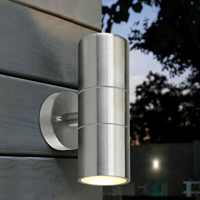 2pcs Modern Stainless Steel Up Down Wall Light GU10 IP54 Double Outdoor LED Lamp