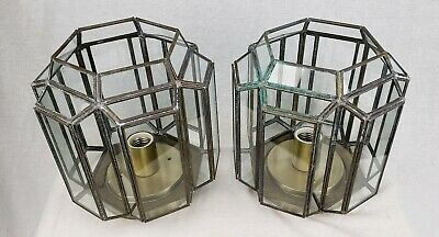 Vintage Leaded Glass Flush Mount Ceiling Light Lamp Lighting Co Fixture Lot of 2