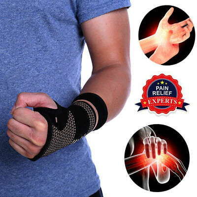 Copper fit Compression Wrist Sleeve Gloves Arthritis Carpal Tunnel Brace Support