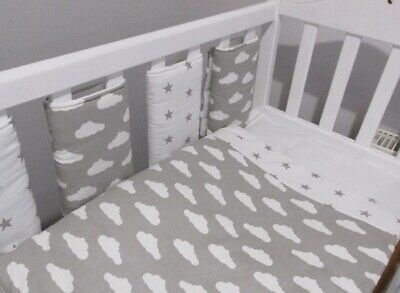 New ☁⭐️️Babies Grey & White Clouds & Stars Cot Quilt ⭐☁️️
