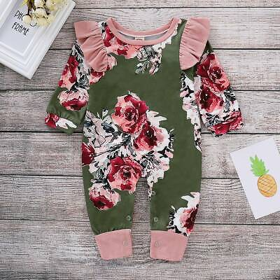Pink Infant Baby Girls Floral Romper Long Sleeve Jumpsuit Cotton Outfit Clothes