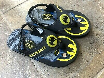 Batman Toddler Boys  Flip Flop Light Up  Sling Strap