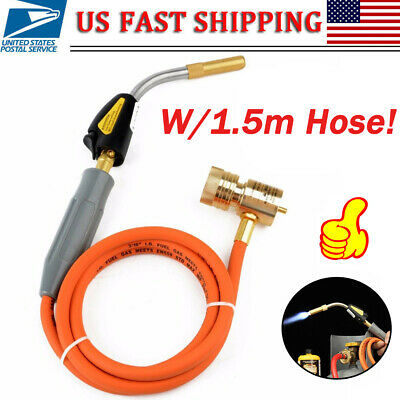 Mapp Gas Self Ignition Plumbing Turbo Torch With Hose Solder Propane Welding US