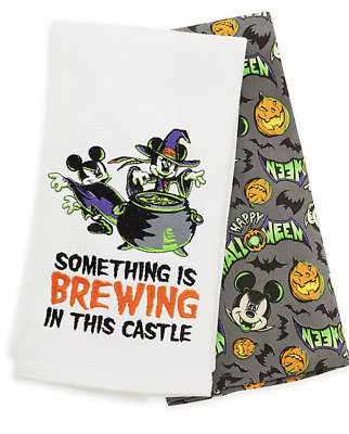 Disney Parks Halloween 2019 Mickey Minnie Dish Kitchen Towel Set of 2 NWT