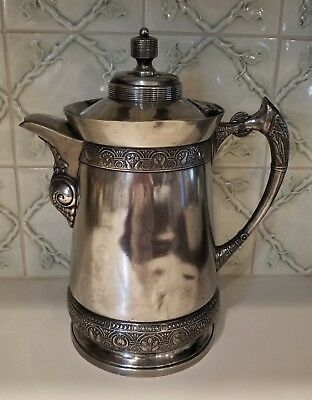 Middletown Plate Co. Hard White Metal Water Pitcher Coffee Pot # 190 Victorian