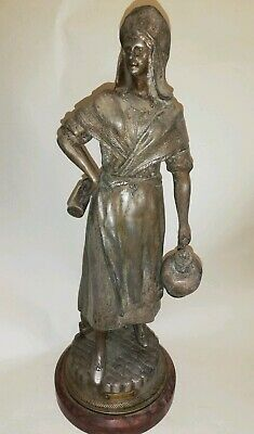Vintage Spelter sculpture on marble base of a milk maid French Spelter figurine