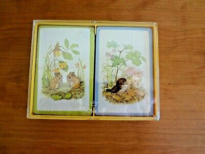 "VTG NIB Hallmark Bridge Playing Cards Double Deck ""Forest Images"""