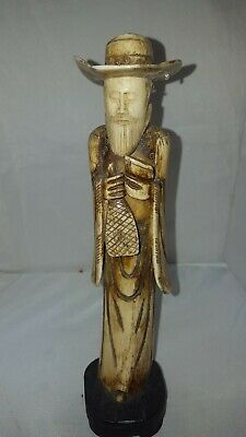 Bone carved Chinese man  figure carved oriental  man figurine bovine bone