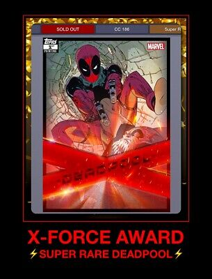 Topps Marvel Collect Digital Trader X-FORCE 1st PRINTING DEADPOOL AWARD Card 186