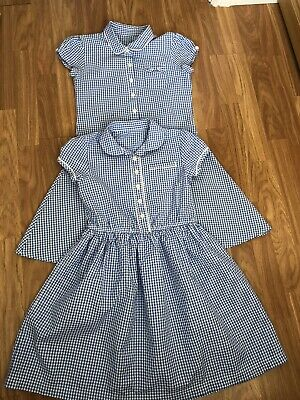MATALAN. AGE 11 YEARS. 2 x BLUE AND WHITE CHECK SCHOOL DRESSES. EX COND