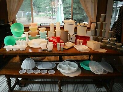 Mixed  Lot of 187 Vintage Tupperware Containers Jadeite Green Pastel w/ Sheer