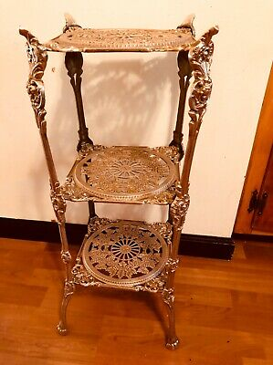 Stunning VTG  French Brass claw foot 3 tier E'tagere stand Cherub grapevine reef
