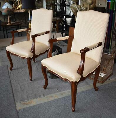 Pair Hickory Chair Company Cherry French Style Arm Chairs Cream and Gold