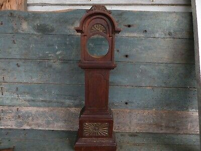 antique primitive 19th c hand made grandfather clock childs doll house toy old