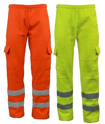 Hi Vis Visibility Work Wear Safety Fleece Joggers Cargo Pants Trousers  S - XL