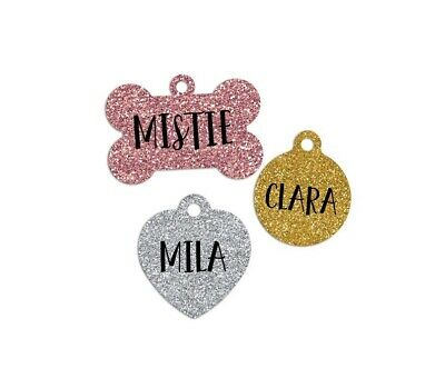 Faux Glitter Customized Pet Tags Dog Cat Tag Personalized Lost Pet Free Shipping