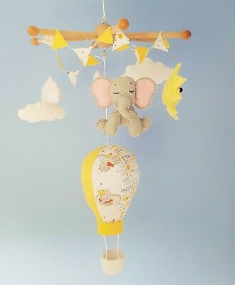 Dumbo Themed Baby Cot Mobile. Hot Air Balloon,Dumbo,Sun & Clouds.Handcrafted.
