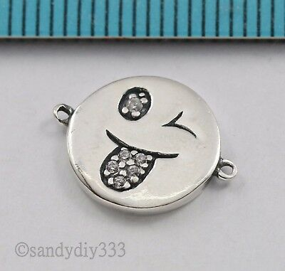 1x OXIDIZED STERLING SILVER CZ HAPPY FACE ROUND CONNECTOR LINK BEAD 11mm #2800