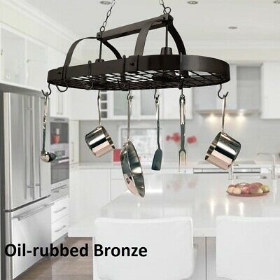 Hanging Pot Rack Ceiling Mount With Lights Shelf Kitchen For Pots Pans Utensils