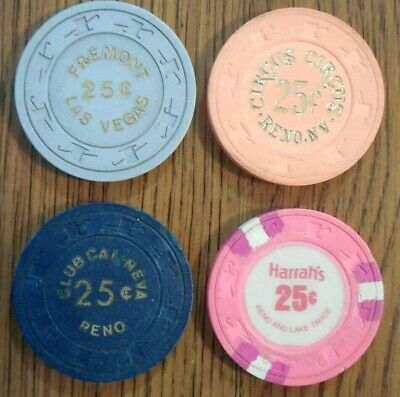 4 Diff Vintage 25 Cent Reno & Las Vegas Nevada Casino Poker Chips Top Hat & Cane