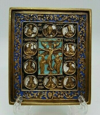 Russian orthodox bronze  The Crucifixion with Deesis. Enameled!