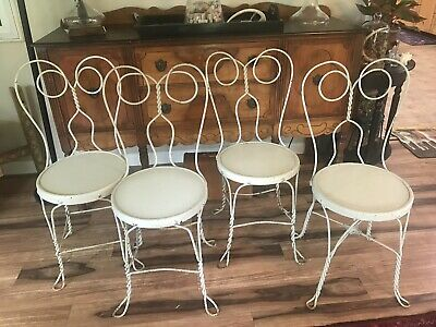 4 Vintage Ice Cream Parlor Chairs Twisted IRON METAL  Back