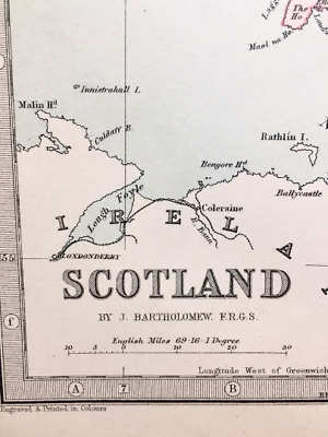 Antique Map: Scotland, UK, Europe, c 1880, Colour