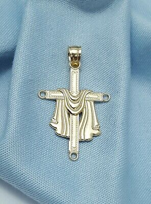 Exquisite 14K Karat Solid Yellow Gold Religious Cross Charm Pendant - Nice!