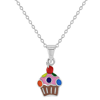 """925 Sterling Silver Colorful Enamel Cupcake Pendant Necklace for Girls 16"""""""