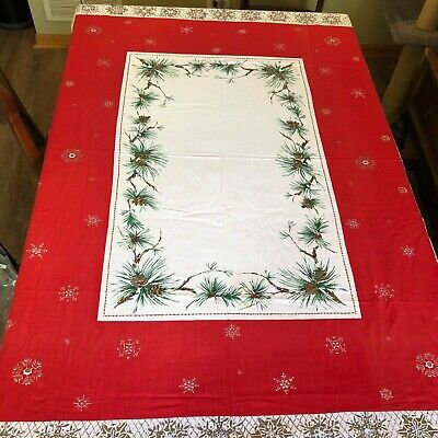 Mid Century Mod Christmas Tablecloth Pinecone & Spray Red Berries VINTAGE