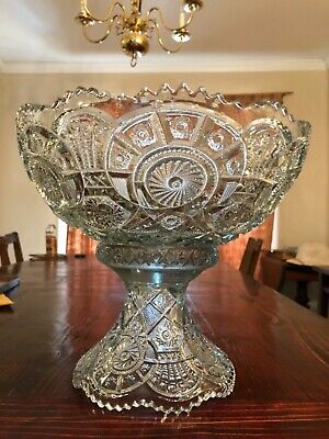 Stunning Vtg large thick saw tooth press/cut glass punch bowl with pedestal
