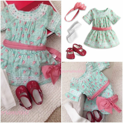 American Girl SAMANTHA SPECIAL DAY DRESS~Outfit~Floral~Shoes~Stockings~Retired