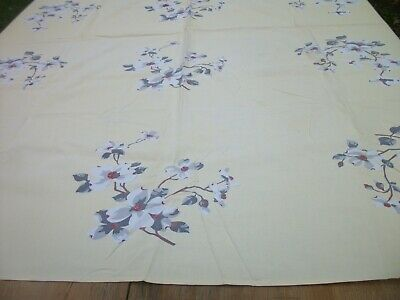 Vintage Print Tablecloth 54 X 65 inch White Gray Dogwood Flowers on Yellow TC77