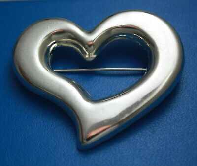 Vintage Mexico Taxco Sterling Silver 925 Large Heart Brooch Pin 18 g