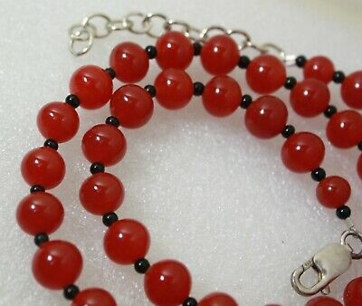 """Antique Vintage Sterling Silver 925 Carnelian & Black Onyx Beaded Necklace21.5"""""""