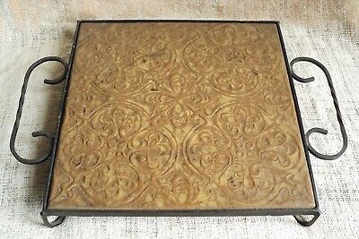 "Vtg GLADDING MCBEAN 12"" Architectural Tile in Orig Wrought Iron Frame Trivet Art"