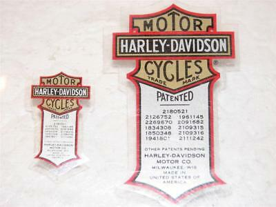 2 Lot Harley Davidson Vintage Patent Patented Decals Sm/Lg (Inside)  New  Sweet!